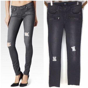 PAIGE Verdugo Luna Grey Destroyed Skinny Jeans 24
